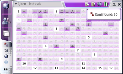Gjiten Radical Table Screenshot